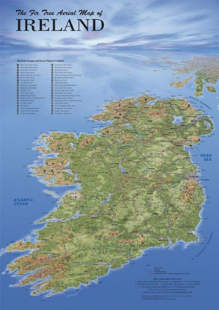 Aerial Map of Ireland - Flat
